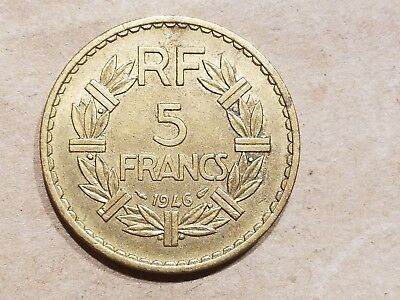 1946 France 5 Francs French Aluminum Bronze Coin Colonial HIGH GRADE !