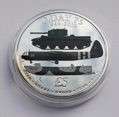 2019 D-DAY 75th ANNIVERSARY WW2, 1944 - 2019,  Five Pound £5 Coloured Coin BUNC