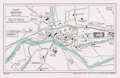 BRECON Street Plan / Map of the Town - Vintage Folding Map 1937