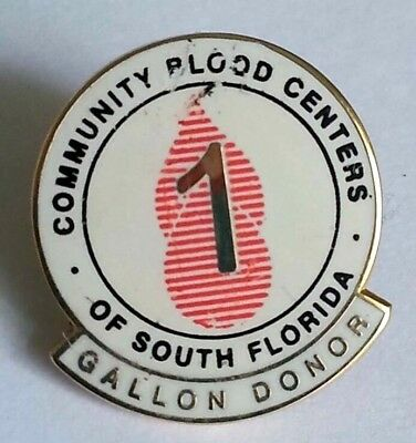 Vintage Pin Community Blood Center Of South Florida Gallon Donor Pinback