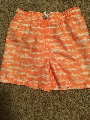 Boys Orange And White Fish Swimmimng Trunks Size Small