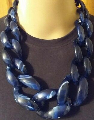 Massive Chunky Marbled Deep Blue Resin Graduated Link Bridal Statement Necklace