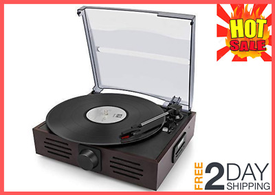 Record Player Portable Bluetooth 3-Speed Vintage Style Auto Stop Control