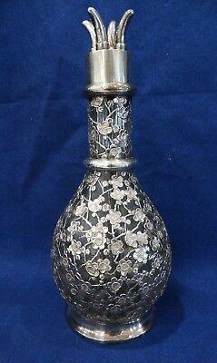 French Art Nouveau Sterling Silver 950 Overlay 4 Chamber Decanter
