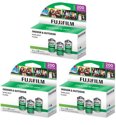 9 Rolls Fujifilm CA ISO 200 36 Exp 35mm (3 Pack) Color Film, FRESH