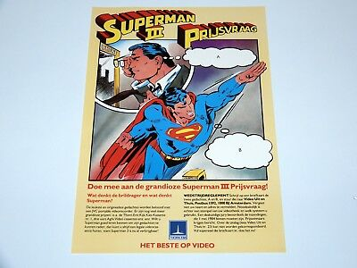 Superman Iii Competition Form 1984 Thorn Emi Dutch Promo Sheet