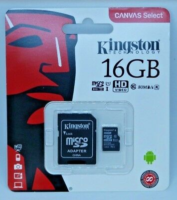 Kingston Canvas Select 16GB MicroSD Card Class 10 SDHC 80MB/s with Adapter - New
