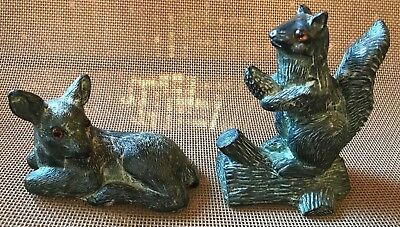 "PAIR/TWO - DEER 3"" AND SQUIRREL FIGURINES 4"" Nut on Log Soapstone Jolin Canada"