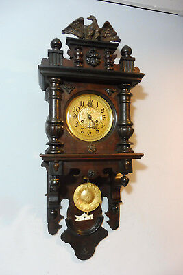 Antique Wall Clock German Old Clock Regulator in Oak Wood Vintage