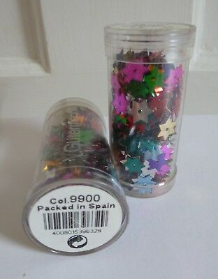 2x Tubes of Gutermann 8mm diameter Star Sequins in Assorted Colours ~ 4g each