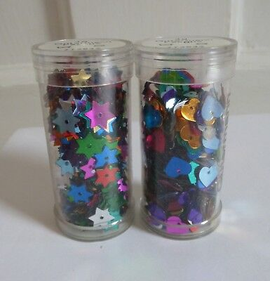 2x Tubes of Gutermann Star & Heart Sequins in Assorted Colours ~ 4g each