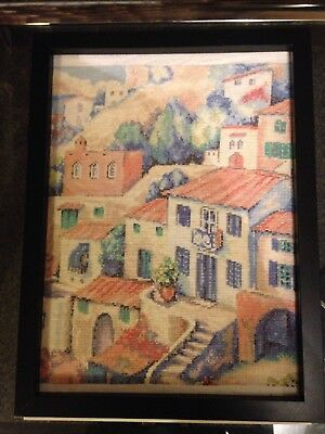 EMBROIDERED CROSS STITCH PICTURE WITH Frame Without Glass Approx A4 Size