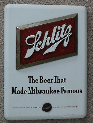 Vintage Schltiz Beer That Made Milwaukee Famous Plastic/Metal Hanging Sign Form