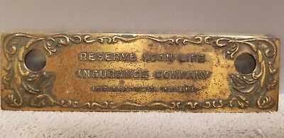 Vtg Indianapolis Ind Advertising Reserve Loan Life Insurane Company Brass Plate