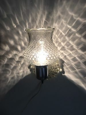 Older Hobnail Glass Wall Fixture/Sconce/Lamp With Switch CLEAR HOBNAIL GLASS