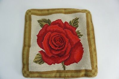 """Vintage Needlepoint Pillow Cover, Rose, 13"""" Sq. Zip Close, Red Rose Gold Border"""