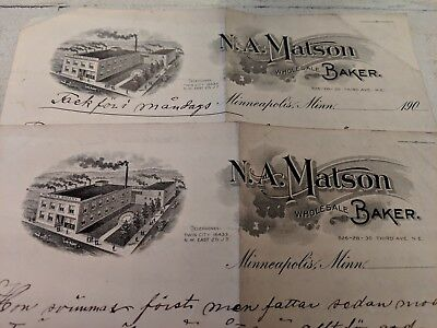 Antique Letterhead N.A. Matson Wholesale Baker Minneapolis Minnesota