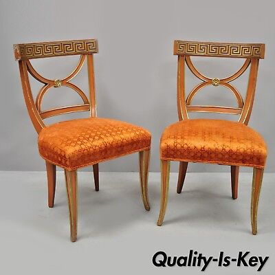 Pair of Hollywood Regency French Greek Key Distress Painted Orange Side Chairs