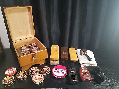 Antique Wooden Shoe Shine Box with Brushes  Vintage Metal Tins Lot Contents