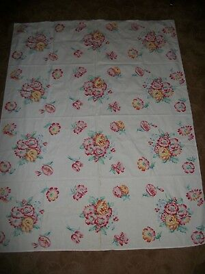 Vtg Spring Flowers Tulips Morning Glory Peonies Cotton Tablecloth 50 x 64 Cutter