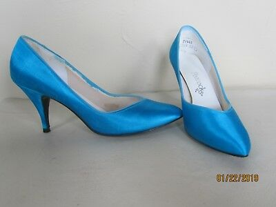 Wedding Perfect PEACOCKS Teal Blue Satin High Heel Pumps Shoes Size 7 1/2 B