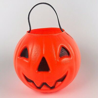 VTG Halloween Pumpkin Blowmold JackOLantern 1980s Candy Pail Carolina Enterprise
