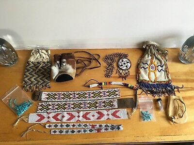11 Piece Lot Vintage Native American Beaded Leather Pouch Medicine Bag Belt Misc