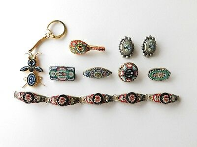 beautiful lot of VINTAGE ANTIQUE MICRO MOSAIC jewelry ITALY