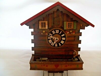 Antique Kuner Black Forest Cuckoo Clock Animated w/ Music Box For Part or Repair