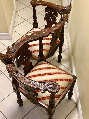 1880 conversation chair, tete a tete. Hand carved walnut, excellent condition.