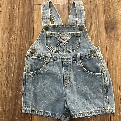VTG Baby Guess Jeans USA Spellout Light Wash Blue Jean Overall Shorts Sz 6 Month