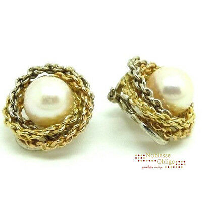 e09e9f3ef99 Boucles D oreilles Vintage Or Massif 18K Made In Italy Années  50 Avec  Perles