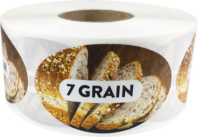 7 Grain Grocery Market Food Stickers, 1.25 x 2 Inches, 500 Labels on a Roll
