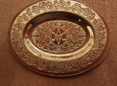 Dollhouse miniature vintage sterling silver Victorian oval plate,  1:12