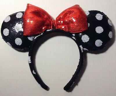 New! Disney Minnie Mouse Ear Headband- Black & White Polka Dot w/ Red Bow