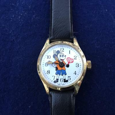 "Vintage Mickey Mouse ""Love"" 1970's Hong Kong Manual Watch"