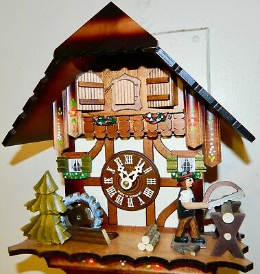 *** Vintage Full Animated Hand Painted Musical Black Forest  Cuckoo Clock**