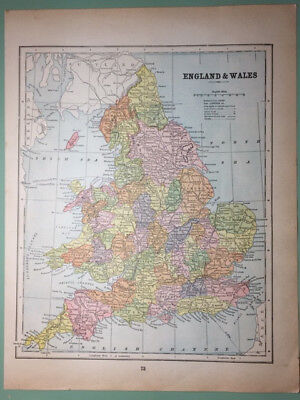 "ANTIQUE MAP of ""ENGLAND & WALES"" and ""IRELAND"", color, 1909"