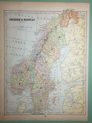 ANTIQUE MAP of SCOTLAND and SWEDEN/NORWAY, color, 1909