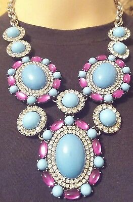 Fabulous Robins Egg Blue Resin Cab & Crystal Clear Rhinestone Statement Necklace