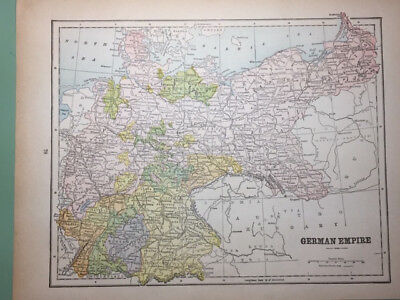 "ANTIQUE MAP of ""GERMAN EMPIRE"" and ""FRANCE"", color, 1909"