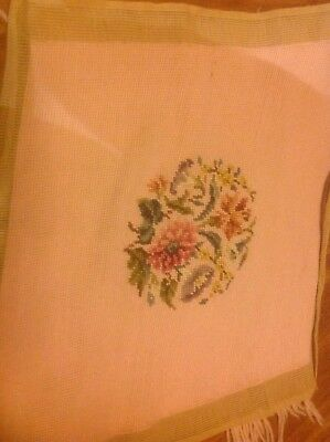 Vintage Needlepoint Pillow or Chair Cover Basket Flowers on Pink