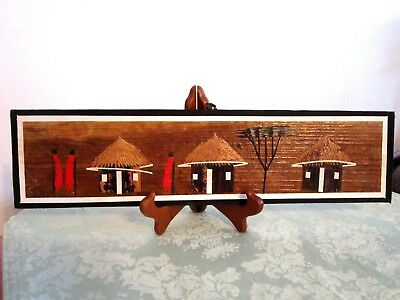 "African Artwork Inlaid Wood Maasai Huts Picture By Kioko - 16"" X 4"""