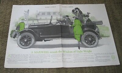 Maxwell Automobile 1920 two page color ad - McClure's for February - Detroit