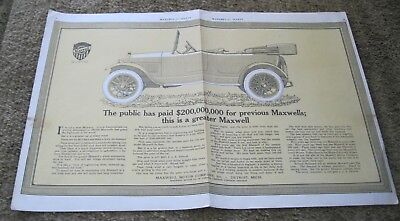 Maxwell Automobile 1920 two page color ad - McClure's for August - Detroit