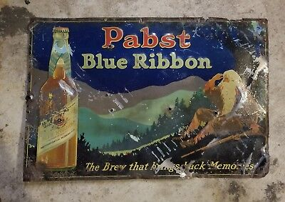 Antique PABST BLUE RIBBON PBR Beer That Brings Back Memories Advertising Sign
