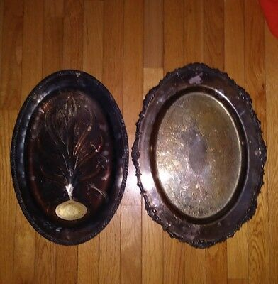 """2 Vintage Silver-Plated Serving Platters Tray Decorative Etched Design 19"""" & 18"""""""
