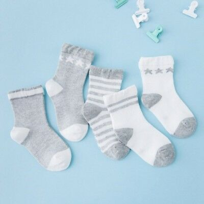 5 Pairs Baby Boy Girl Cotton Ankle Socks Newborn Infant Toddler Kids Soft cute
