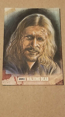 Topps Walking Dead Hunters/hunted Color 1 Of 1 Dwight Detailed Sketch Card