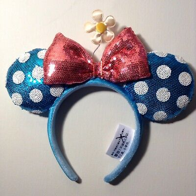 New! Disney Minnie Mouse Ear Headband - Blue w/ White Dots, Red Bow & Flower